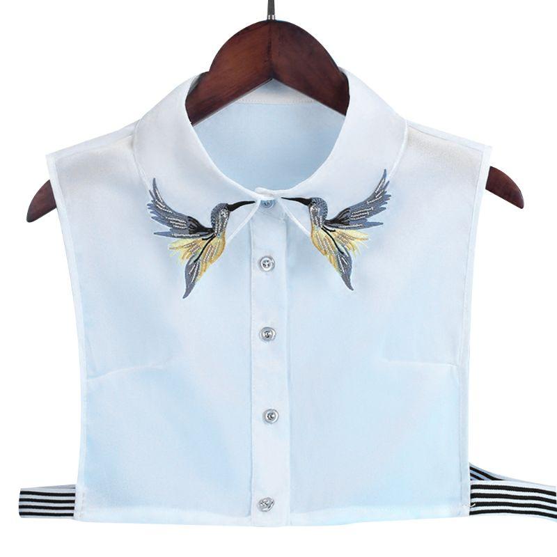 Women Shirt Fake Collar Tie Fashion Heavy Bird Embroidery Crystal Sewing Detachable Collar False Collar Lapel Blouse Top