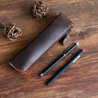 multifunction vintage cowhide genuine leather pen bag pencil bag stationery organizer holder with zipper large capacity 1124|stationery bag|leather pencil holderpencil pen holder -