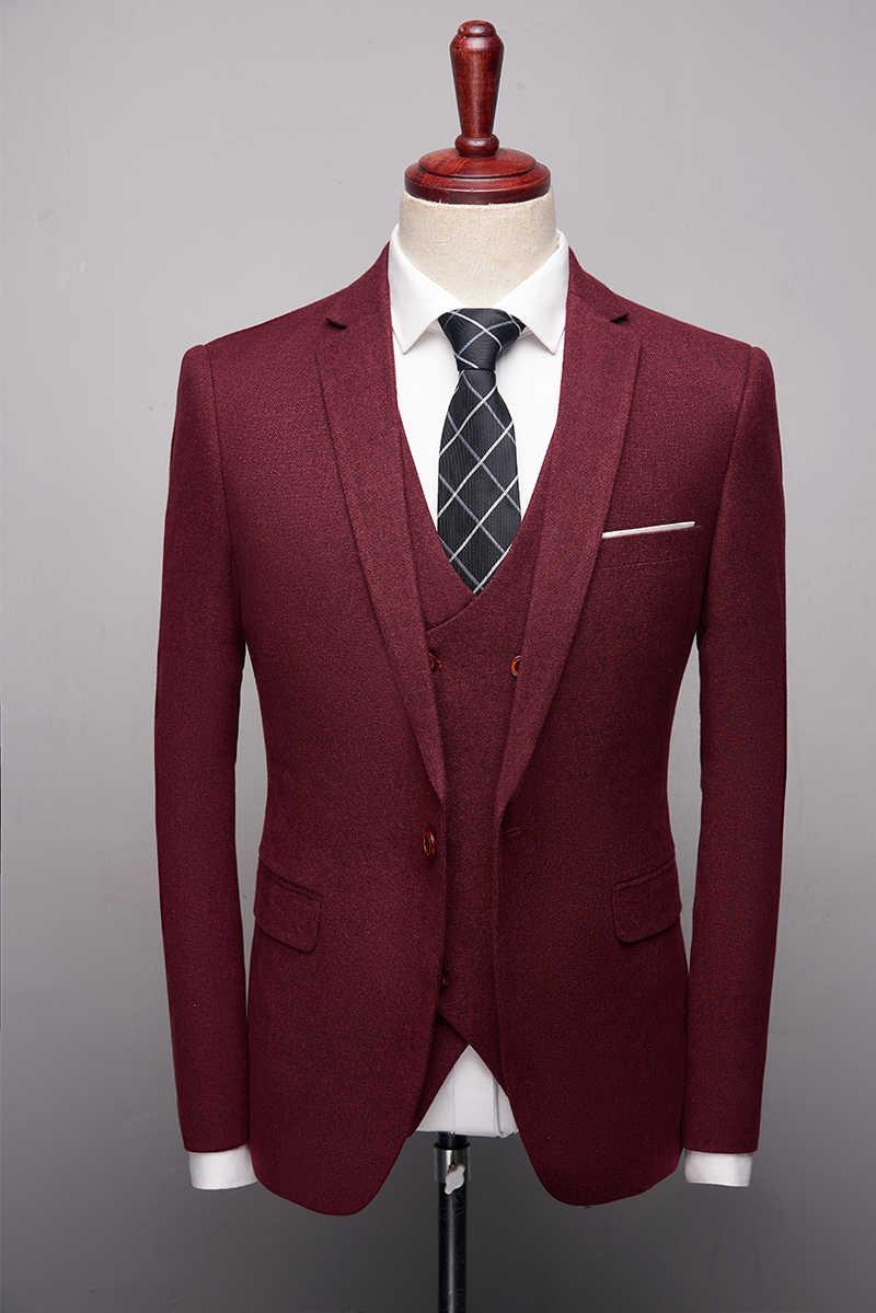 Rouge marine noir costumes pour hommes d'affaires costumes formelle Slim Fit 3 pièce hommes costume de mariage marque de luxe mode veste pantalon gilet