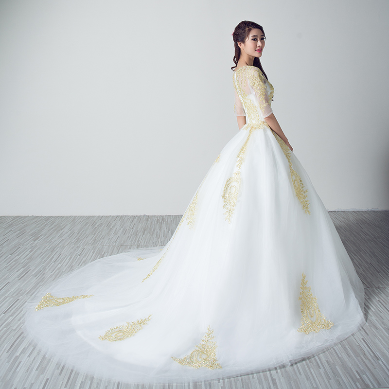 Custom made vestido de noiva robe de mariage 2017 white wedding custom made vestido de noiva robe de mariage 2017 white wedding dresses with gold lace applique custom made in wedding dresses from weddings events on junglespirit Image collections