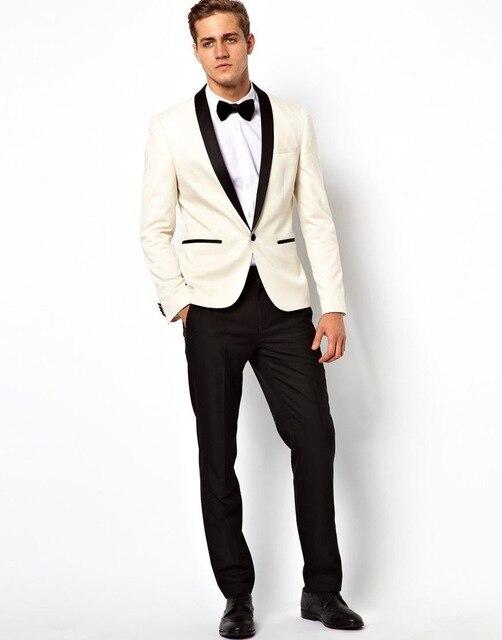 2020 Hot Slim Fit One Button Ivory Groom Tuxedos Shawl Collar Groomsmen Best Man Men Wedding Suits (Jacket+Pants+BowTie)