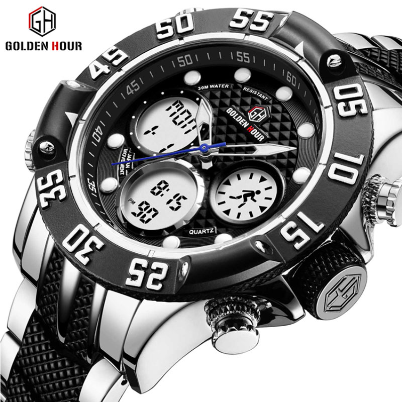 GOLDENHOUR Luxury Brand Business Army Military Sport Watches Relogios Masculin Men Steel Digital Quartz Analog Watch Clock curren men watch top luxury men quartz analog clock steel strap watches hours complete calendar relogios masculin drop shipping