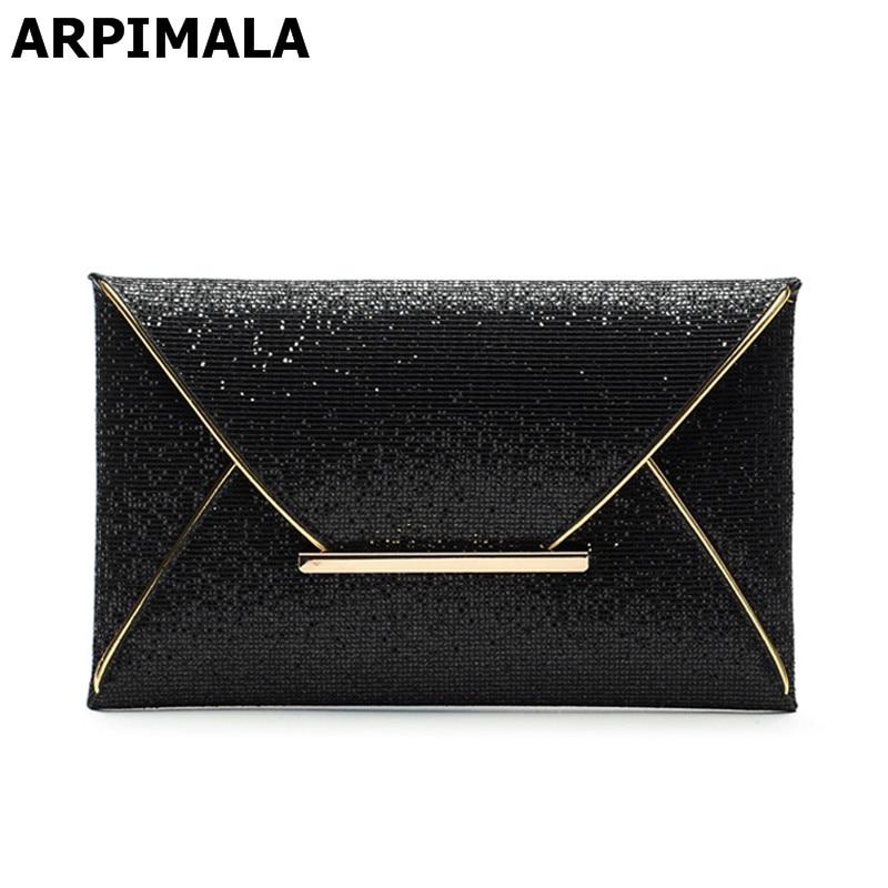 ARPIMALA 2017 luxury shiny envelope clutch bag glitter ladies hand bags wedding bags for women evening party black purse handbag