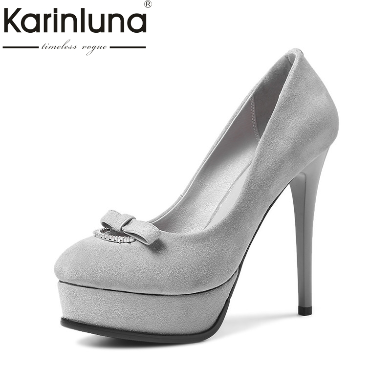 цена Karinluna 2018 Spring Autumn Concise Natural Kid Suede Platform Women Pumps slip-on Shallow Elegant Ol High Heels Shoes Woman