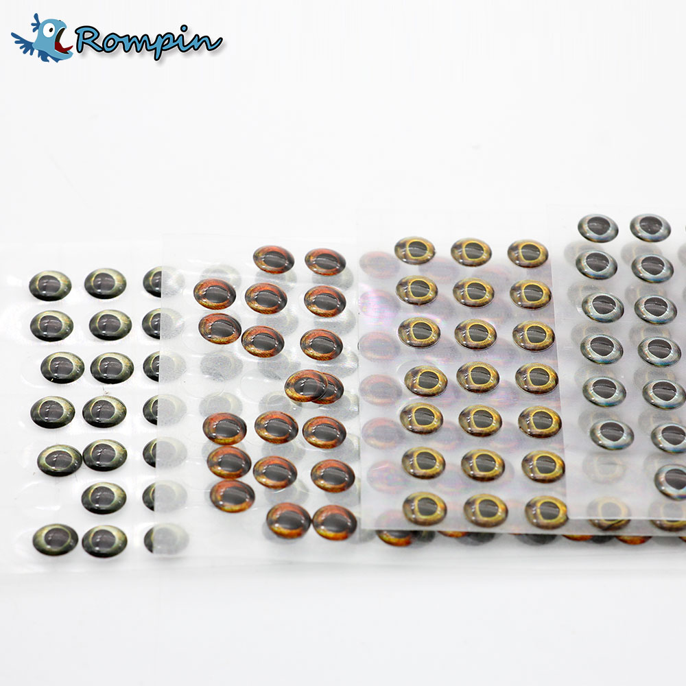 Rompin 100pcs/pack 4D 5.8mm fishing lure eyes fake fish eyes for fly fishing Lure Bodies Blank Minnow Hard Baits Lure Making 5sheets pack 10cm x 5cm holographic adhesive film fly tying laser rainbow materials sticker film flash tape for fly lure fishing