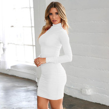 Long Sleeve Bandage Dress Women Ruched Autumn Spring Turtleneck Bodycon Dress White Black Red Club Party Mini Dresses