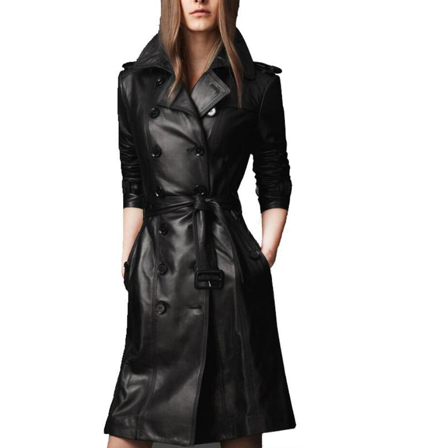 2019 autumn Women Pu   Leather   Trench Coat Overcoat female Long Sleeve Double-breasted Long Coat Ladies Plus Size 4xl r1551