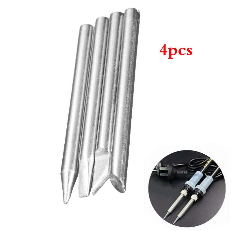 4pcs 60W Electronic Soldering Iron Tips Head Replaceable 5mm Shank Diameter Solder Welding Gun Repair Tool Kits