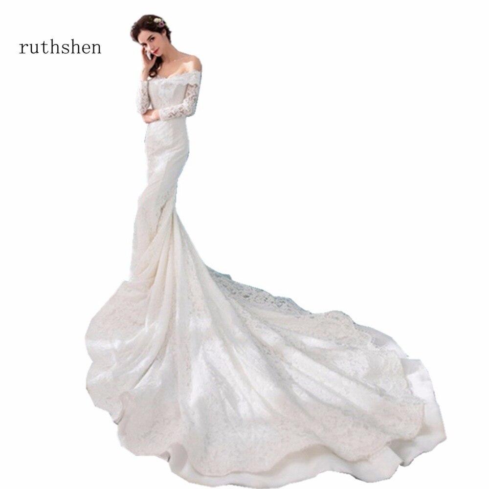ruthshen Princess Mermaid Gown Wedding Dresses 2018 Off Shoulder Lace Appliques Elegant Bridal Gowns Lace Up