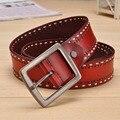 Cuerda decoración cinturón y cinturón ancho cinturón de cuero de vaca retro señoras de la manera genuina correa de los hombres