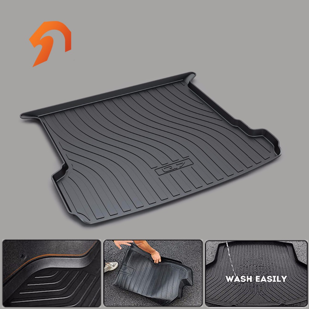 Rubber Rear Trunk Cover Cargo Liner Trunk Tray Floor CAR Mats FIT for AUDI Q7 2015-2017 car rear trunk security shield cargo cover for honda fit jazz 2008 09 10 11 2012 2013 high qualit black beige auto accessories