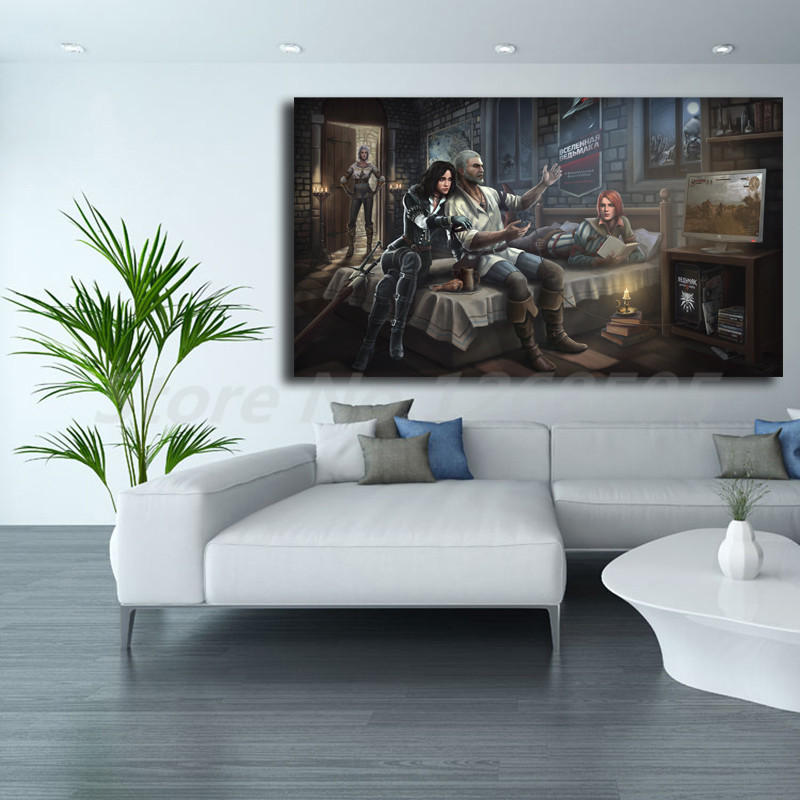 Witcher 3 Wild Hunt Geralt Cirilla Yennefer Triss Wallpaper Art Canvas Poster Painting Wall Picture Print Home Bedroom