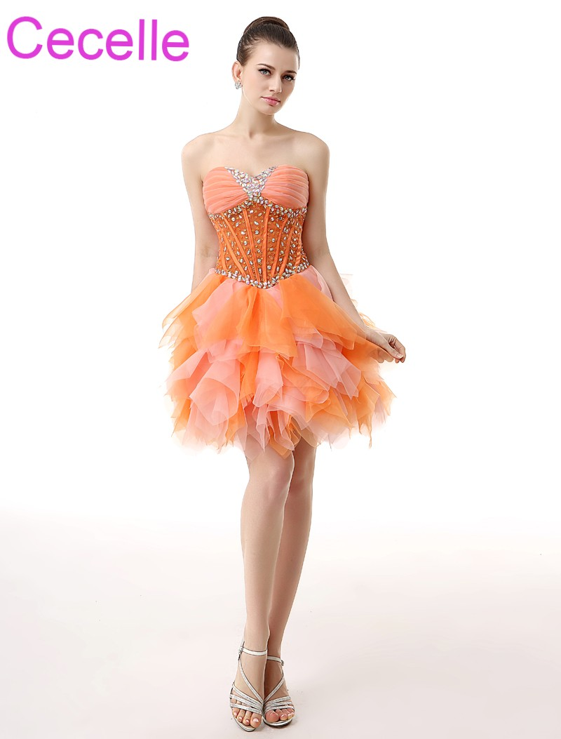 Orange Short   Cocktail     Dresses   2019 Sweetheart Beaded Crystals Ruffles Skirt Girls Semi Formal   Cocktail   Party   Dress   Custom Made