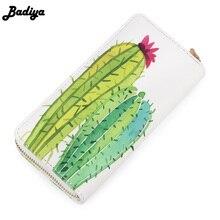 Badiya Women Spring Summer Cute Plant Cactus Print Long Wallet font b Phone b font Bag