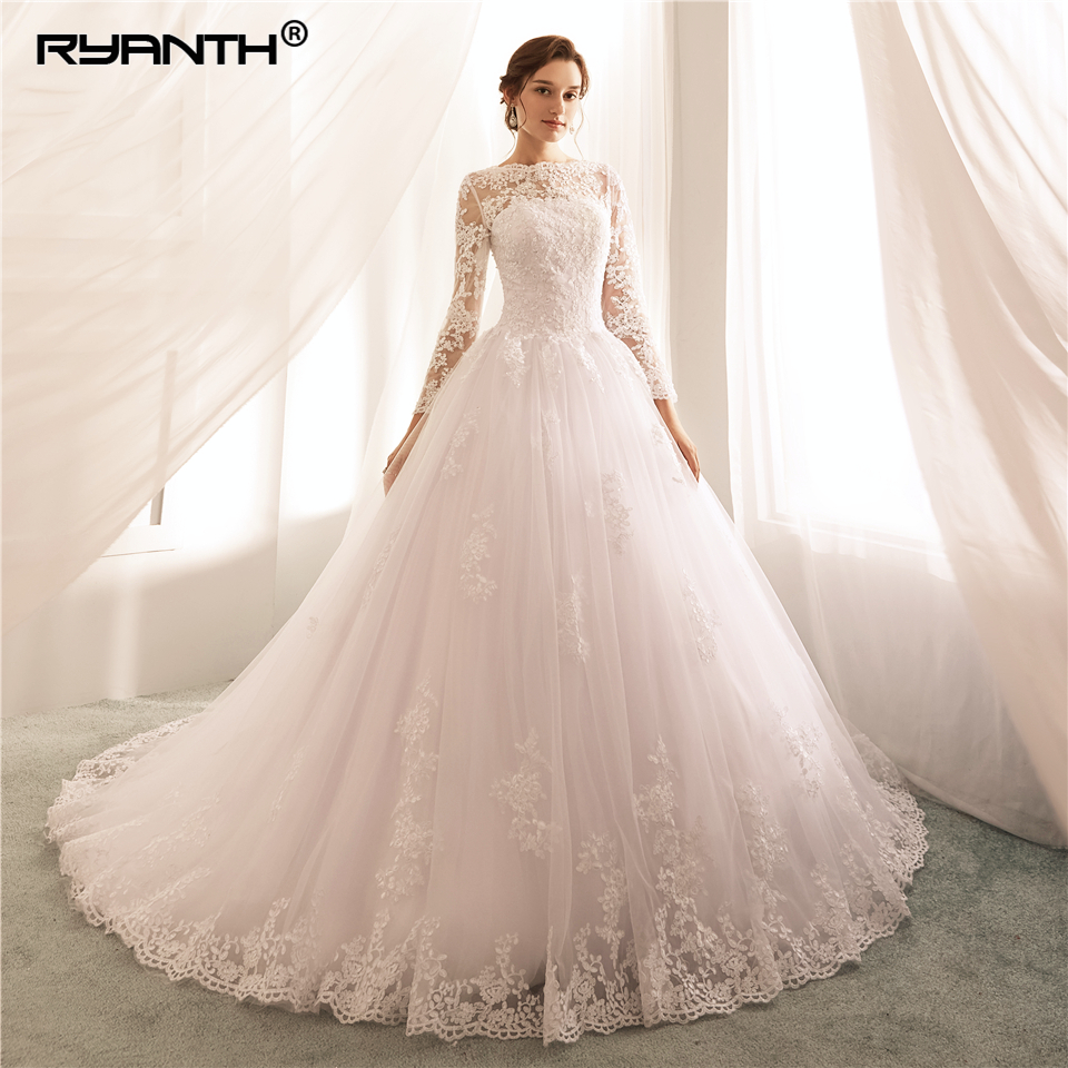 Custom Made Vestido De Noiva Cheap High Neck Long Sleeves Lade A Line Wedding Dress 2019