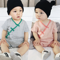 2017 Baby Boys Clothes Sets Summer Cotton Linen Chinese Style Bodysuits For Girls Infant Sunsuit Kids