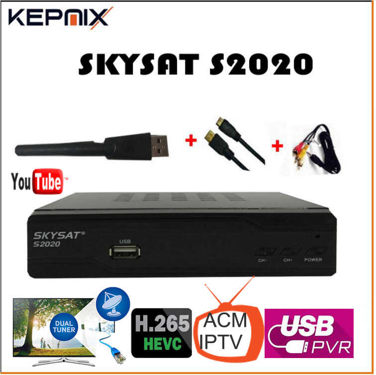 цена на SKYSAT S2020 Twin Tuner IKS SKS receptor acm IPTV H.265 Satellite Receiver for south america more stable than tocomfree s929