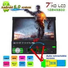 7 «1Din Android 6,0 Системы автомобиля MP5 плеер Авто Стерео DVD автоматическая выдвижная Экран gps навигации 3g Wi-Fi AM FM RDS радио