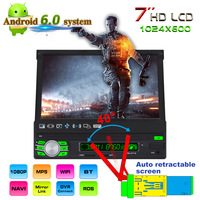 7 1Din Android 6.0 System Car MP5 Player Auto Stereo DVD Automatic Retractable Screen GPS Navigation 3G WiFi AM FM RDS Radio