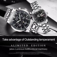 JSDUN автоматика Роскошные Повседневное пару часов для любителей нержавеющей стали модные Бизнес женские часы мужские наручные часы