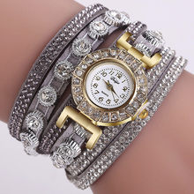 Women Fashion Casual Analog Quartz Women Rhinestone Watch Bracelet Watch quartz watch rose golded women's leather watches #7(China)