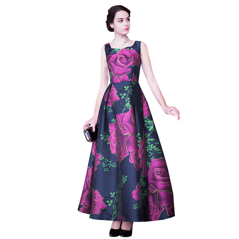 Plus size Rose Floral Print Long Party dress summer O neck Bohemian Maxi sleeveless casual beach boho dresses women Vestido