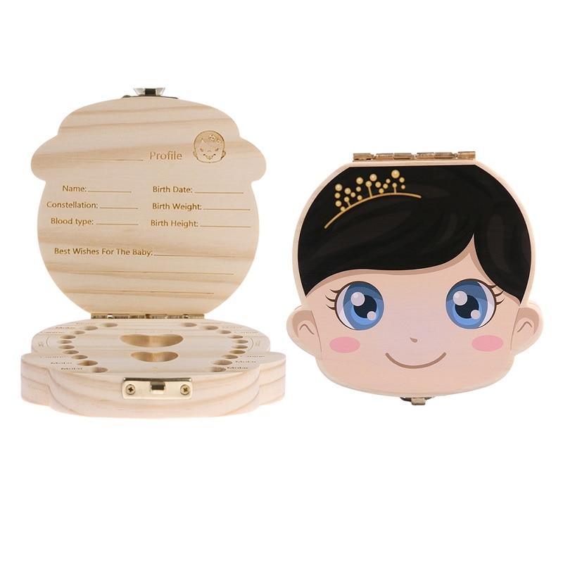 English/Spanish Wooden Box Tooth Box Organizer Save Milk Teeth Storage Teeth Gift Umbilical Cord Lanugo caja madera Drop Shiping