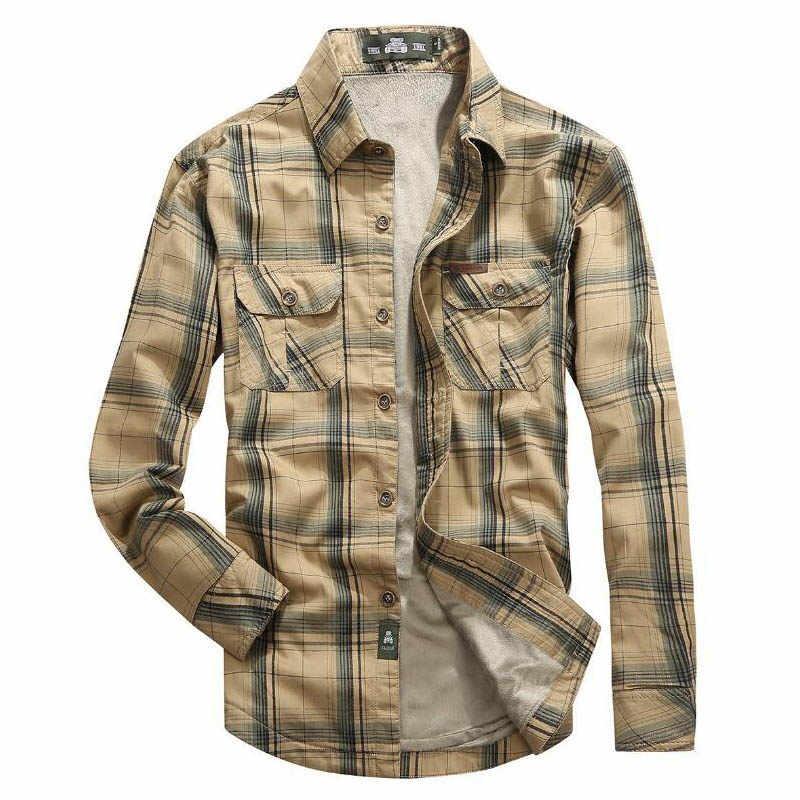 7c16bea550f33f3 ... Брендовая рубашка Мужская s рубашки Флисовая теплая зимняя рубашка  мужская клетчатая хлопковая Camisa masculina военные повседневные ...