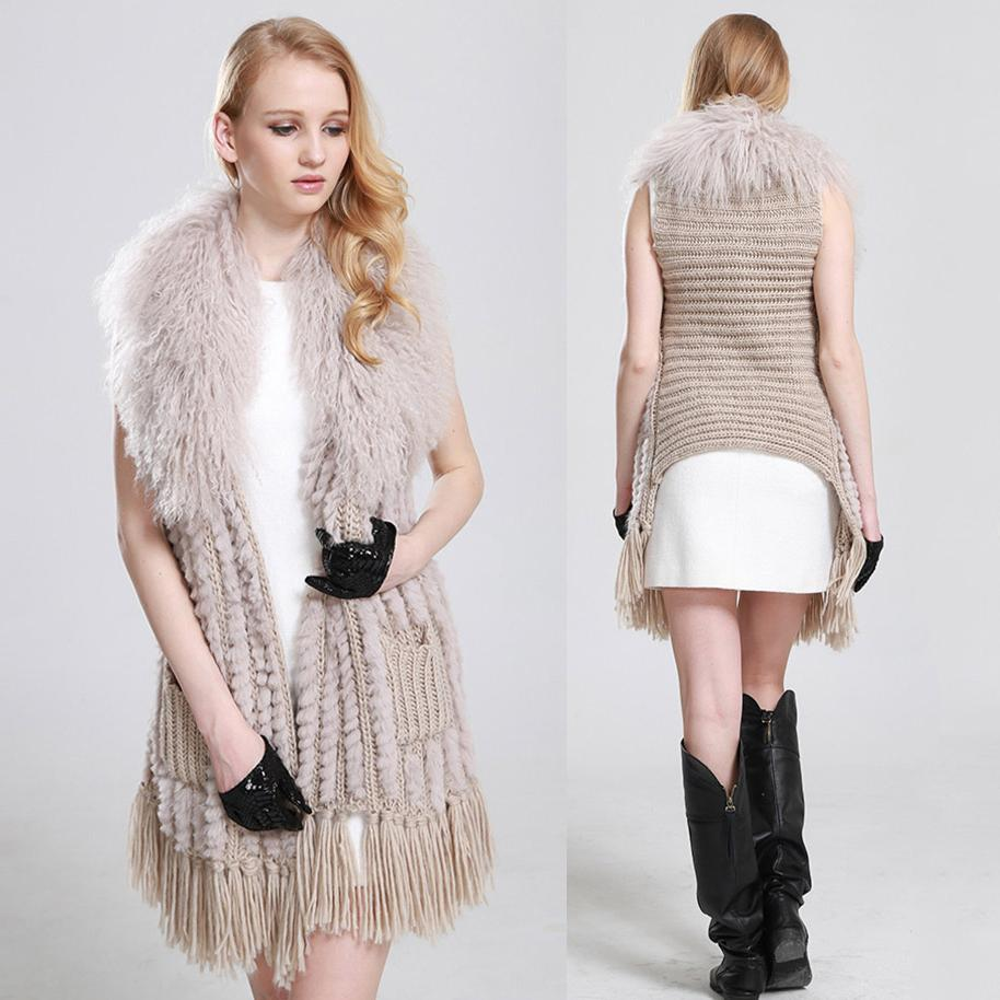 Hot Sale Natural Fur Pashmina Shawls Women Knitted Rabbit Fur capes with mongolia sheep fur collar with tassles Winter wraps