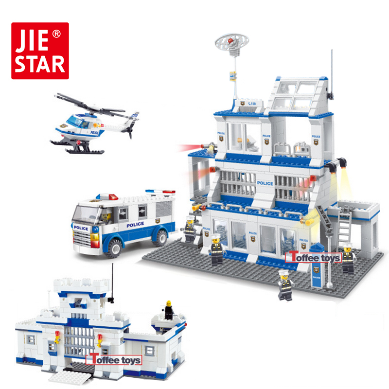 ФОТО JIE-STAR City Police Station Series Building Blocks Assembled Construction Model Building Kits Toys for Children Boys 20024