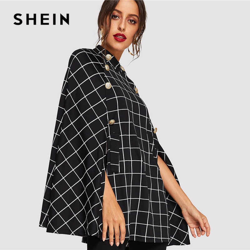 4a43f086a0 SHEIN Black Highstreet Office Lady Double Button Mock Poncho Solid Elegant  Coat 2018 Autumn Women Workwear Outerwear Clothes-in Trench from Women's  Clothing ...