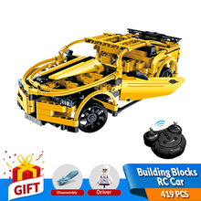 419db RC Építőelemek Autó Sárga Camar Modell Építő készlet Kompatibilis Legoe játékok DIY összeállított szett születésnapi ajándék gyerekeknek
