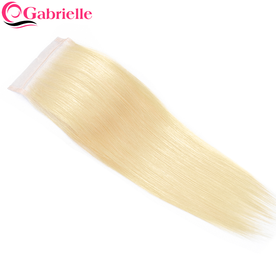 Gabrielle Lace Closure Human-Hair Straight Blonde-Color Brazilian Weaving Free/middle/three-part