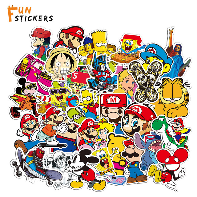 Mario Skate Anime Game Character Cartoon Waterproof Sticker Toy Laptop  Mobile Phone Skateboard Guitar Luggage Sticker A0489 4d795aa6bce