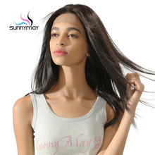 Sunnymay Brazilian Remy Glueless Silk Straight Lace Front Human Hair Wigs With Baby Hair Pre Plucked Natural Hairline