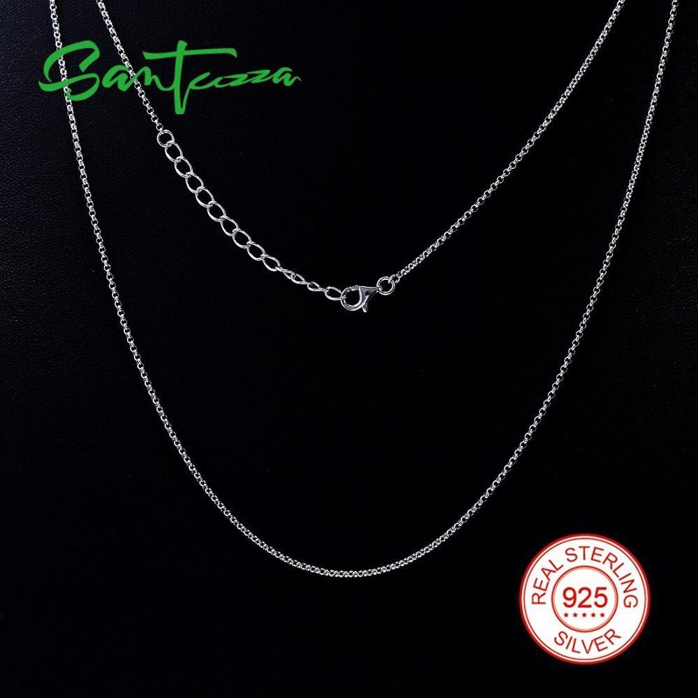 Plata 925 collar de cadena enlace Collar para las mujeres hombres joyería regalos 45 cm 47 cm 50 cm 55 cm largo