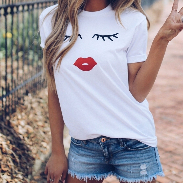 00f87ba25 2018 NEW Womens Short Sleeve Graphic Printed Wink Eyes Tee T-Shirt Tops.  Rated 3.0/5 ...
