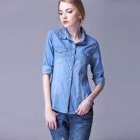 Denim Shirt Female Long Sleeve Shirt Women Denim Blouse Classic Shirt Jeans 2017 Cotton Slim Tops