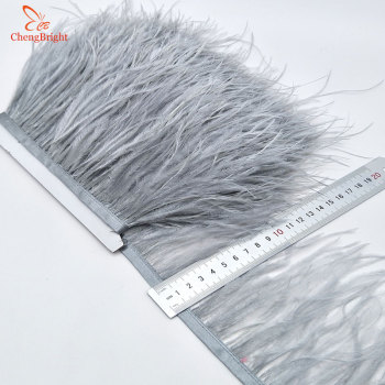 ChengBright Wholesale High Quality 10Yards Silvel grey Ostrich Feather Ribbon Ostrich Feathers Trim Fringe Clothing Decoration