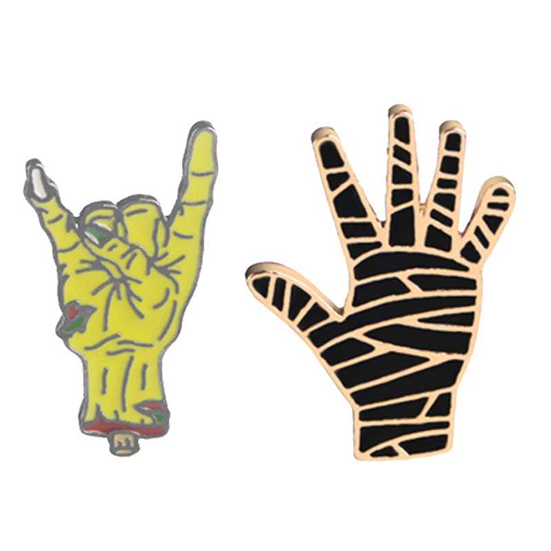 Enamel Punk Hand Brooches Pins Black Devil Gesture Mummy Palm Ghost Lapel Badges Gothic Accessories Vintage Fashion Jewelry Gift