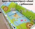 Promoción! 6 unids león bebé juego de cama cuna llua cuna parachoques, incluye :( bumper + hoja + almohada cubre )