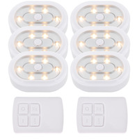 Wireless Dimmable Under Cabinet LED Puck Lamps LED Night Lights Kit with Remote Control Warm White Lighting 6 Lamps