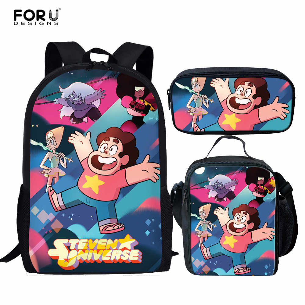 94b4950990da FORUDESIGNS Children Backpack 3Pcs Steven Universe School Bag Set 3D Anime  Print Student School Bookbag for
