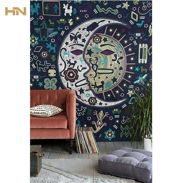 Celestial Sun Moon Tapestry Throw Psychedelic Indian Hippie Elephant ...