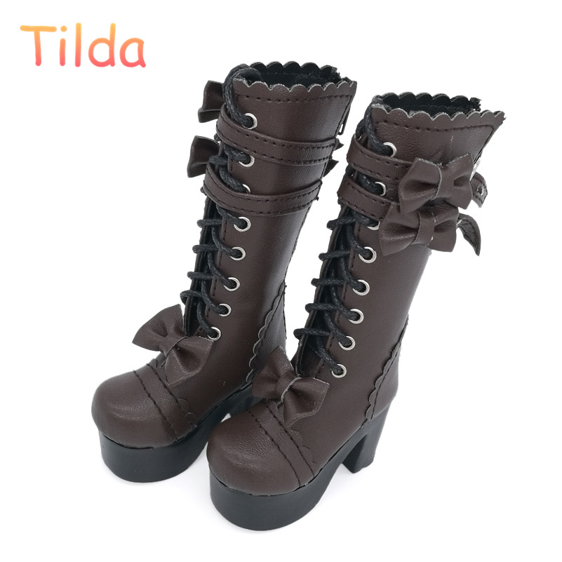 Tilda 1/4 Doll Boots Lolita Style High Heel BJD Doll Shoes,White Lace Up Toy Boot For Minifee BJD Dolls Fashion Toy Accessories luoxiaohei style polyester spandex doll toy decoration black yellow blue white