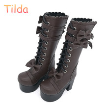 Tilda 1/4 Doll Boots Lolita Style High Heel BJD Doll Shoes,White Lace Up Toy Boot For Minifee BJD Dolls Fashion Toy Accessories