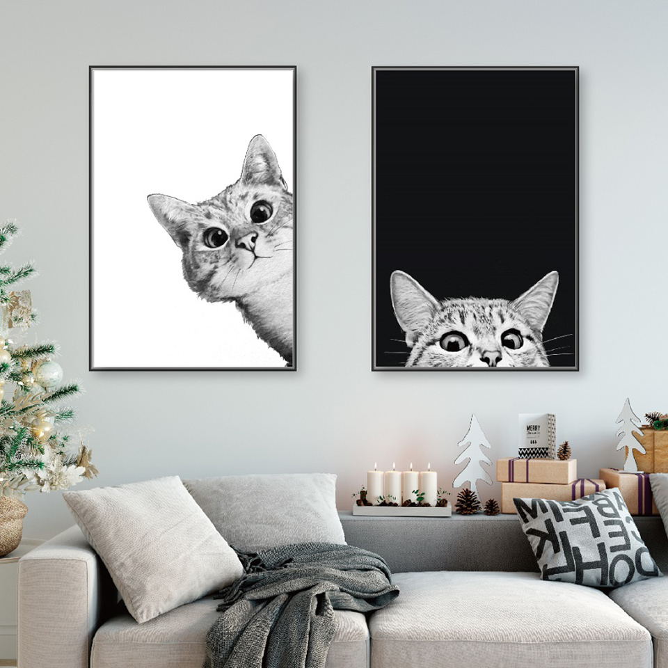 Canvas Prints Posters Painting Animals-Modular-Pictures Wall-Art Living-Room Cats Home-Decor