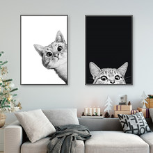 Canvas Prints Painting Nordic Style Lovely Black White Cats Posters Wall Art Animals Modular Pictures For Living Room Home Decor(China)