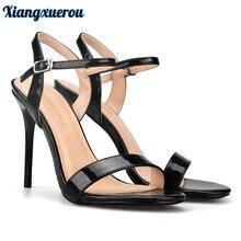 Xiangxuerou 2018 Summer Thin Heels Women Sandals Black Color Buckle Strap Patent leather High Heels Fashion Open Toe Sandals