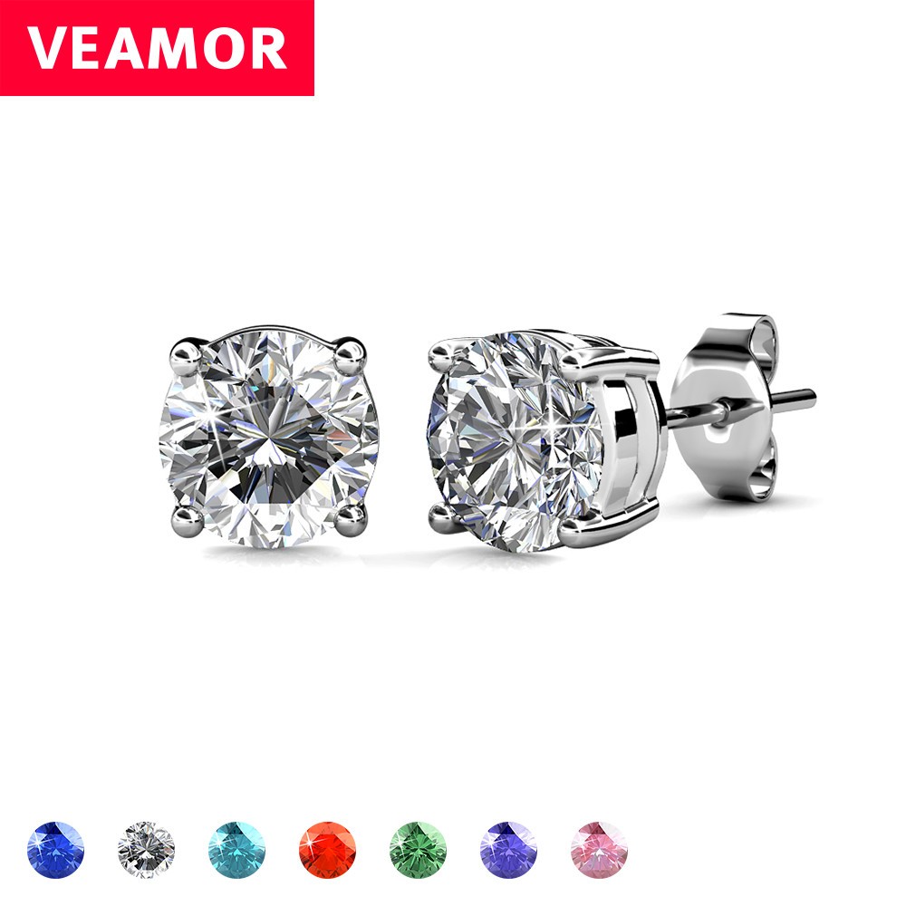 Real 925 Sterling Silver 7 Colors Stud Earrings For Women Crystal From Swarovski  Earring Fashion Jewelry